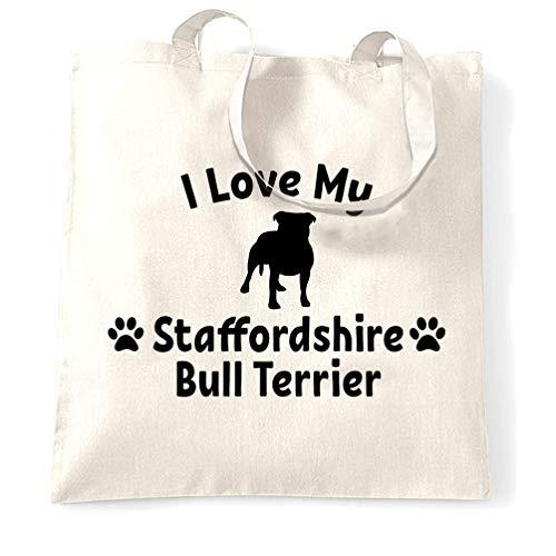 Tim And Ted Hundebesitzer Tragetasche Ich liebe meinen Staffordshire-Bullterrier White One Size