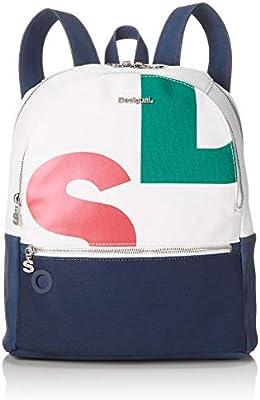 Desigual - Bag Logomania Novara Women, Bolsos mochila Mujer, Blanco, 12x35.3x28.7 cm (B x H T)