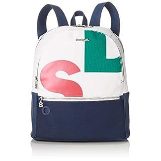 41sobmd7WHL. SS324  - Desigual - Bag Logomania Novara Women, Bolsos mochila Mujer, Blanco, 12x35.3x28.7 cm (B x H T)