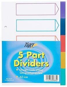 Tiger A5 5 parte plastica divisori con indice copripiumino