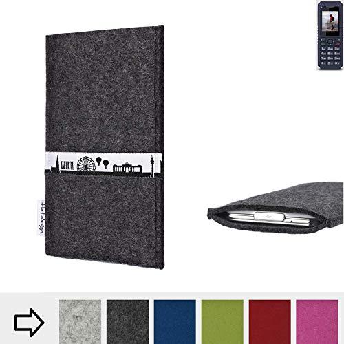 flat.design für bea-fon AL250 Schutztasche Handy Hülle Skyline mit Webband Wien - Maßanfertigung der Schutzhülle Handy Tasche aus 100% Wollfilz (anthrazit) für bea-fon AL250