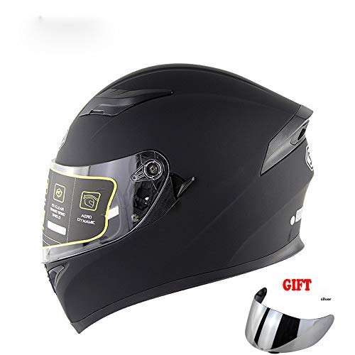 TANMIN Unisex Motociclo di Sicurezza Casco, Staccabile Double Visor DOT/ECE Approvato con Sistema di Ventilazione del Casco Moto + Libero Visiera Extra, Matt Black,XL(61~62cm)