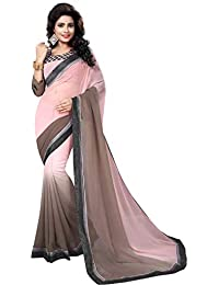 42c8ef8589318 MANSVI FASHION Women s Georgette Saree with Blouse Piece (Peach and Grey