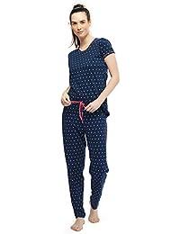 ZEYO Women's Cotton Navy Blue Feeding Night Suit | Nursing Night Dress with Polka Dot Print | Breastfeeding Night wear| Half Sleeve Baby Feeding Top and Pyjama Set