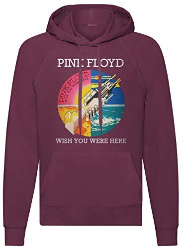 LaMAGLIERIA Sudadera Unisex Pink Floyd Wish You were Here - Sudadera con Capucha Rock Band, M, Burgundy