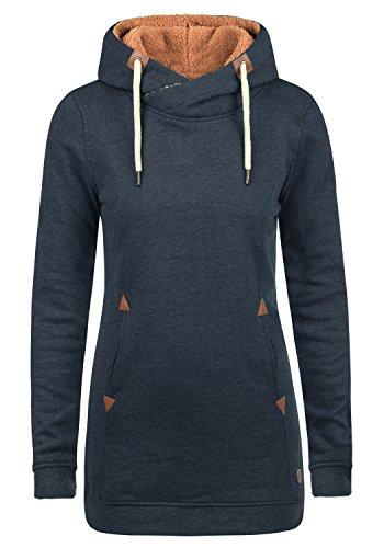 DESIRES Vicky Pile Hood Long Damen Langer Kapuzenpullover Hoodie Pullover Mit Kapuze Und Teddy-Futter, Größe:M, Farbe:INS BLU M P (P8991)