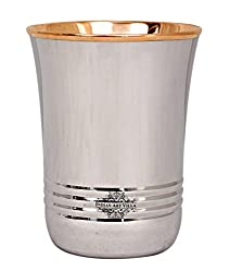 IndianArtVilla Steel Copper Glass Tumbler, Drinkware, Home Restaurant, 250 ML, 1 Piece