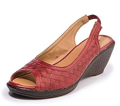 Khadims Women's Maroon Casual Mule Sandal - 9