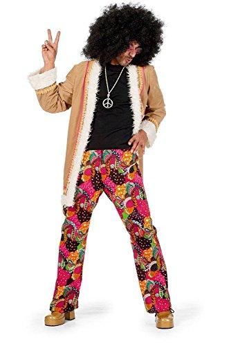 Siebziger Kostüm Jahre Männer - shoperama Hippie Herren Kostüm Mantel mit Schlaghose 60er 70er Jahre Seventies Sixties Flower Power, Größe:52