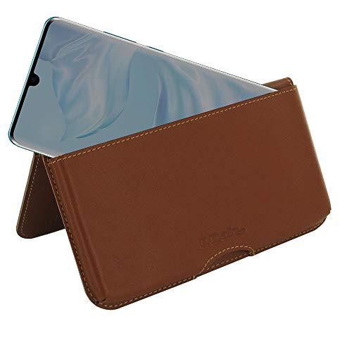 PDair Huawei P30 Pro Brieftasche Folio Handy (Braun), Echtleder Brieftasche Hülle Hülle Klapphülle Folio Etui, Handarbeit Prämie Brieftasche Tasche für Huawei P30 Pro - Speck Brieftasche Handy