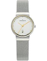 Skagen 355SGSC - Reloj analógico de mujer de cuarzo con correa de acero plateada - sumergible a 30 metros