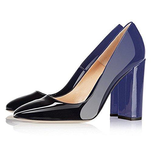 EKS Damen Elegante spitze Zehen-Pumps, Chunky Heels Patent Schuhe High Heels Blockabsatz EU 35-46 Blau-Schwarz