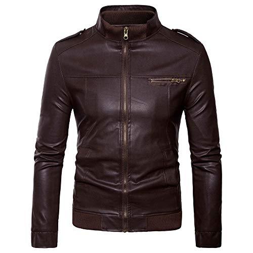 TWBB Herren Lederjacke Bikerjacke Mit Stehkragen PU Leder Coat Mantel Outwear Oberteile Sweatshirt