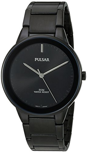 Pulsar Herren Quarz-Messing und Edelstahl Kleid Uhr, Farbe: Schwarz (Modell: pg2045) (Seiko Kleid Uhren Herren)
