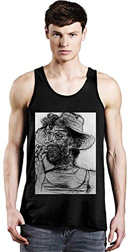 Medium Cone Top (Top Paintings of All Time Pablo Picasso - Man with Ice-Cream Cone Painting Unisex Tank Top T-Shirt Men Women Stylish Fashion Fit Custom Apparel by Medium)