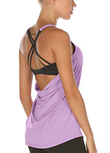 icyzone Damen Sport Yoga Top mit BH - 2 in 1 Fitness Shirt Cross Back BH Training Tanktop (S, Lilac)