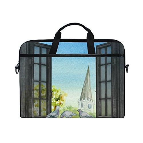 Ahomy Town Laptoptasche mit Fenster und Baum und Taube, multifunktional, Stoff, wasserdicht, Laptoptasche, Aktentasche, Schultertasche -