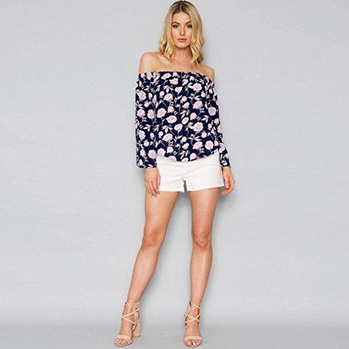 AmazingDays Chemisiers T-Shirts Tops Sweats Blouses,Femme Loose Floral Flare 3/4 Manches Off Épaule Blouse Courte Chemises Top Navy