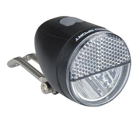 Profex Frontscheinwerfer Sport LED 25Lux Dynamo,Standlicht und Schalter, schwarz, 65018