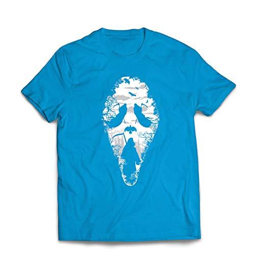 hirt Tribal Sensenmann Schrei - Tod gruselig beängstigend (Medium Blau Mehrfarben) ()