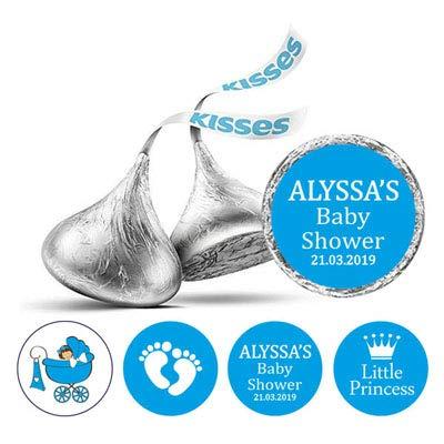 -Pack für kleine Prinzessin Sticker Hershey Kisses Süßigkeit Labels-Blau ()