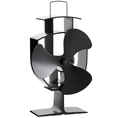 VonHaus wärmebetriebener Herdventilator für Holzofen mit 3 Flügeln – Schwarzer Stahl