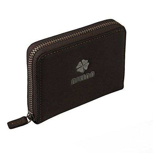 Damen echtes Leder kurze Geldbörse - ESOONS weiche Clutch Vintage Damen Geldbörse RFID Blocking kleine Geldbörse mit Reißverschluss Münze Tasche Kreditkartenhalter Organizer (Gefüttert, Clutch Baumwolle)