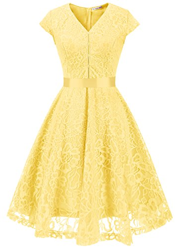MuaDress Fashion Vestido Corto De Fiesta Elegante Mujer De Encaje Escote en V Estampado Flor Vestido Boda Cóctel Amarillo XS