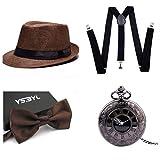thematys Al Capone Mafia Gangster Hut + Fliege + Hosenträger + Taschenuhr - 20er Jahre Kostüm-Set für Damen & Herren - perfekt für Fasching & Karneval (9)