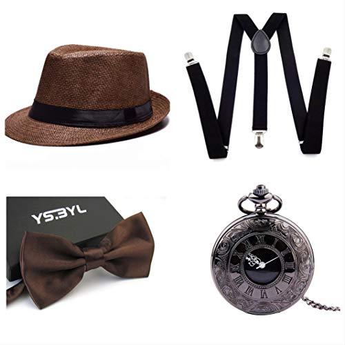 thematys® Cappello Gangster Mafia al Capone + Farfallino + Bretelle + Orologio da Taschino - Set Costumi Anni '20 per Donne e Uomini - Perfetto per Carnevale (9)