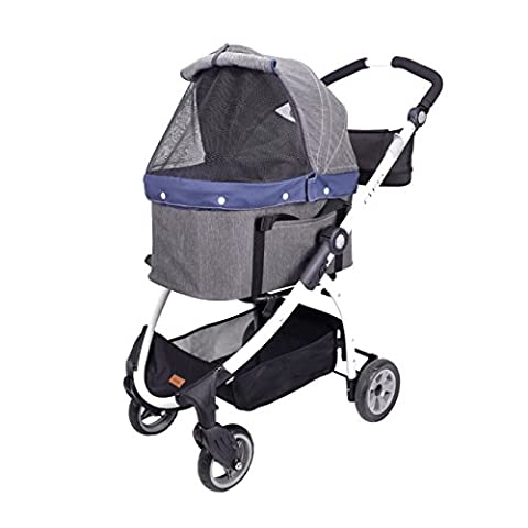 Multi-functional: Dog Basket/Stroller/Carseat, Innopet, Cleo, Denim Fabric with matte white paint finish! Large space in the cabin