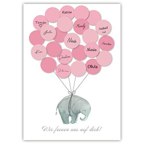 Pandawal Babyparty Deko Mädchen Elefant Gästebuch Alternative (Rosa) Gastgeschenk für Baby Shower, Taufe Erinnerungsstück/Andenken für Baby & Kinder beschreibbar/Fingerabdruck