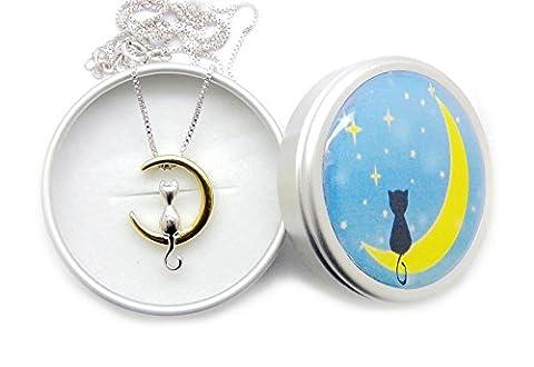 Romantique Fashmond Chat et lune plaqué or Collier court en argent 925 sterling de 45cm 50 cm Idée Cadeau Anniversaire Filles et Femmes