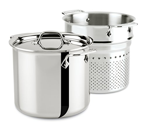All Clad 4807 Stainless Steel Pasta Pan with Strainer and Lid, Pot 6.6 Litres, 22 cm