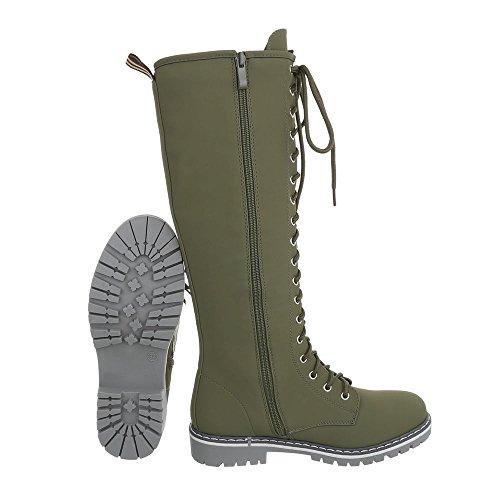Scarpe da donna Stivali tacco a blocco Stivali con Laccio Ital-Design Olive