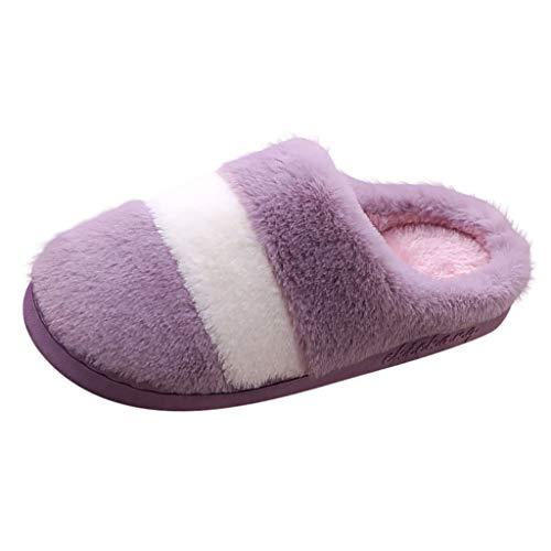 SuperSU-Hausschuhe Casual Damen Verdicken Warmer Hausschuhe Spleiß Gestrickte Baumwolle Korallen Vlies Gefüttert rutschfeste Pantoffeln für Drinnen und Draußen Hausschuhe