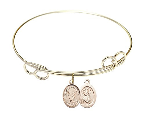 Guardian Angel W Child Charm On A 7 1//2 Inch Round Double Loop Bangle Bracelet