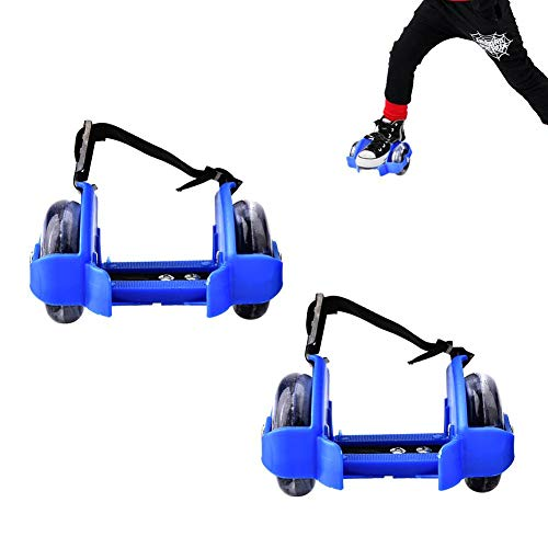 Hakeeta Blinkende Fersenroller mit Verstellbarem Riemen und LED Beleuchtung.Rollerskates Rollschuhe für Kinder.Dunkelblau