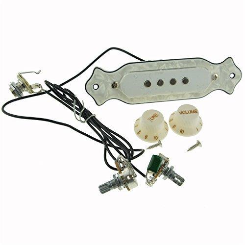 pxyelec vorverdrahtet 4-Saiten Gitarre Schallloch-Tonabnehmer Kabelbaum für Zigarre Box Gitarre