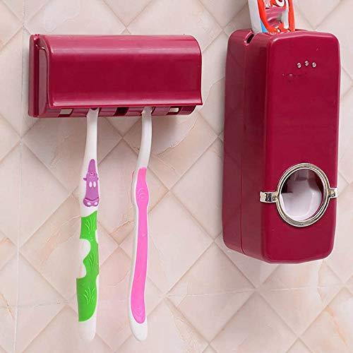 SUOVK Zahnbürstenhalter Zahnbürstenhalter Automatischer Zahnpastaspender + 5 Zahnbürstenhalter Zahnbürste Wandhalterung Ständer Badezimmerwerkzeuge, Burgund (Burgund Zahnbürstenhalter)