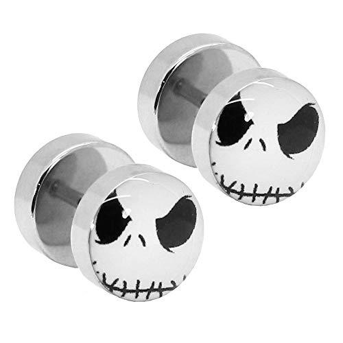 tumundo 2 Fake-Plugs Motiv Gesicht Fratze Gothic Schwarz Flesh Tunnel Piercing Ohr-Stecker Ohrringe Halloween Edelstahl