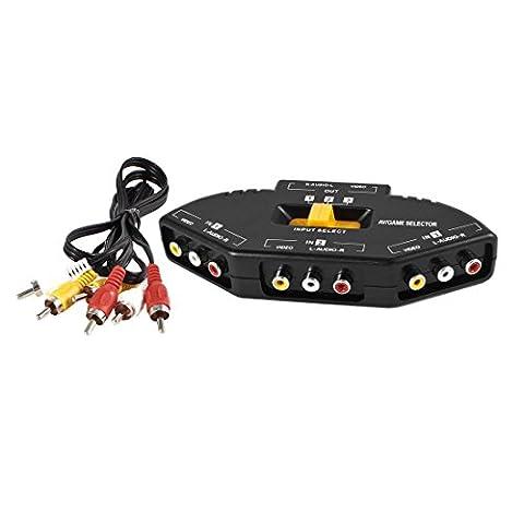 sourcingmap® Gelb Schwarz 3 way Audio Video AV RCA Verteiler Umschalter + Kabel (Video Umschalter)