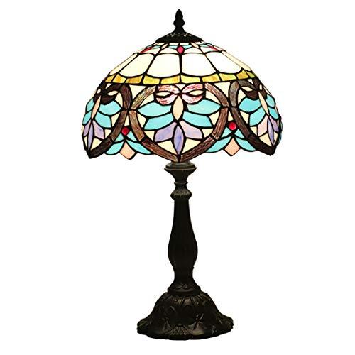 Lampada da tavolo in stile tiffany lampada da tavolo in stile barocco sul comodino con base in zinco antico per soggiorno studio camera da letto, e27, (30cm * 49cm)