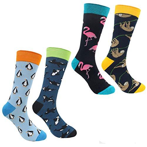n Bunt - Baumwolle Socken Herren, Gemusterte Socken Muster Lustige Socken, Modische Socken Mehrfarbig Klassisch Baumwolle 38-45 (Pinguin) ()