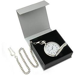 Chrome pocket watch on chain in gift box - fine quality quartz movement