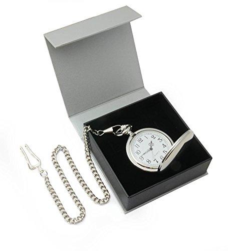 Orologio da tasca cromato su catenina in confezione regalo - movimento al quarzo di alta qualità