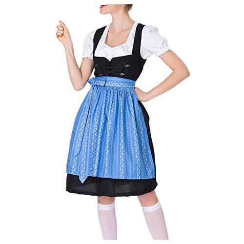 Oktoberfest Kostüm für Damen Vintage ELegant Kurzarm Trachtenkleid Bierfest Zofe Abendkleid Bayerisches süße Freizeit bar Maid Kleid Traditionelles Midikleid karnevalskostüme (S, Blau)