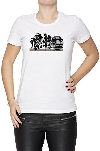 Santa Barbara Beach Donna T-shirt Bianco Cotone Girocollo Maniche Corte White Women's T-shirt