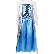 Frozen - Vestido de princesa, guantes para niños de 4-5 años, color azul (Katara)