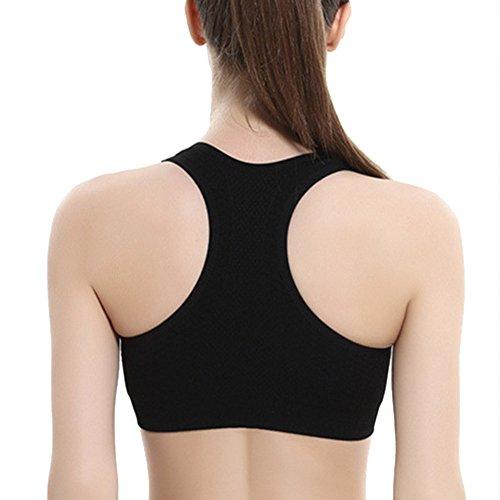 DELEY Femmes Course Antichoc Yoga Gym Exercice Sans Soudure Respirant Sport Soutien-Gorge De Confor Noir